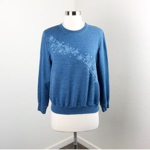 Alfred Dunner blue quilted floral crop sweater